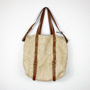 Woven Straw Tote Bag with Shoulder Strap/Handles